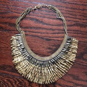 Stella and Dot mixed metal feather bib necklace